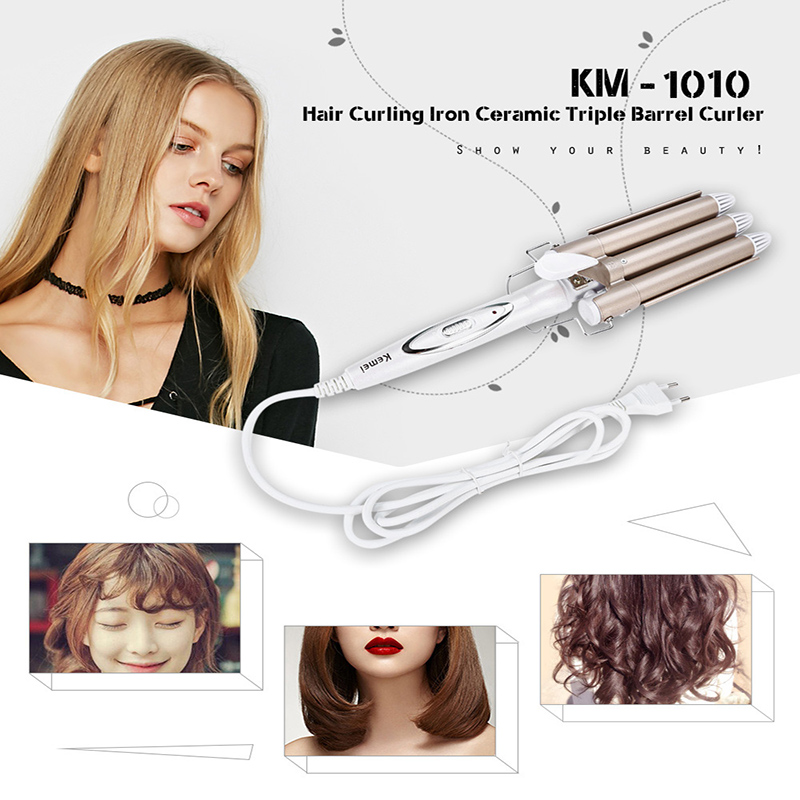 Kemei KM 1010 Professional Triple Barrel Ceramic Hair Electric Hair Wave Curling Iron Pearl Waving Styling Tools Hair Curler in Curling Irons from Home Appliances