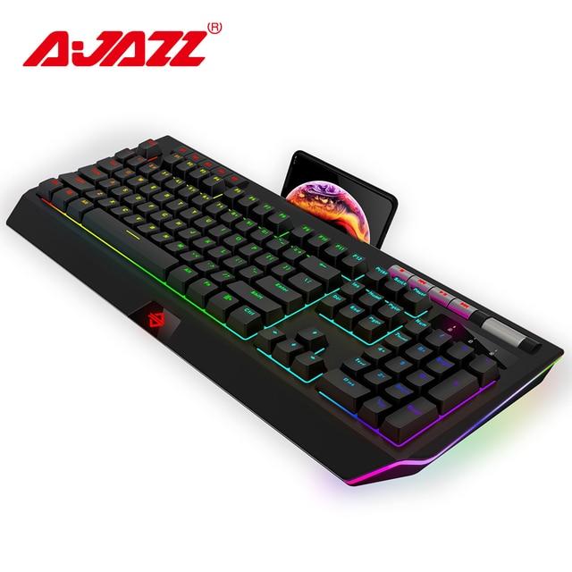 Ajazz AK525 104 ключей Проводная Механическая клавиатура RGB подсветка синий переключатель игровая клавиатура и мышь с подсветкой с мобильным держателем анти-ореолы