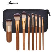 8pcs Set Bamboo Handle Makeup Brush Gold Tube Eyebrow Eyeliner Makeup Brushes Soft Hair Makeup Brush