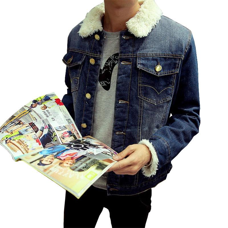 Buy Thick Denim Jackets Men 2017 Winter Fleece Casual Warm Man Coats Fashion Brand Korean Style Jean Homme Outwear Best Sale M-XXXL