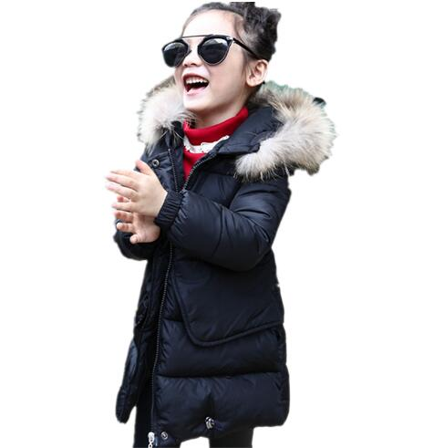 Fashion Thick Warm Fur Hooded Girls Winter Coat Zipper Solid Slim Child Winter Jacket For Girls Baby Kids Cotton Parka Down real fox fur warm hooded padded jacket women solid color casual manteau femme hiver medium long parka slim coat cotton tt3461