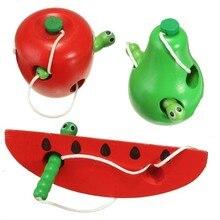 Wooden Education Baby Fruit Toys Selling Learning Thread Start Work Children Kids Bite Colorful Developmental Worm Eat Plaything