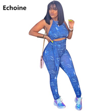 Women Spaghetti  Strap Denim Print Jumpsuit Sexy Bodycon Sleeveless Rompers Backless Elegant Belt Overalls