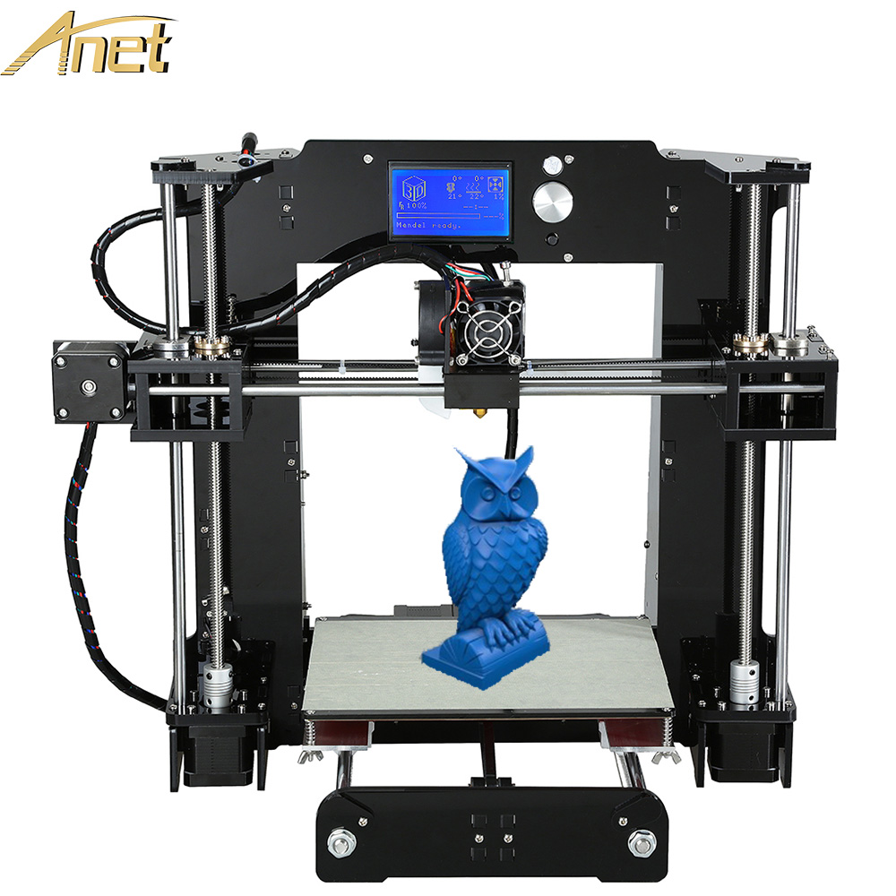 Full Acrylic Frame Anet A6 3d-printer machine Industrial Extruder Reprap Prusa i3 3D Printer Kit DIY With Free 1roll Filaments dc24v cooling extruder 5015 air blower 40 10fan for anet a6 a8 circuit board heat reprap mendel prusa i3 3d printer parts