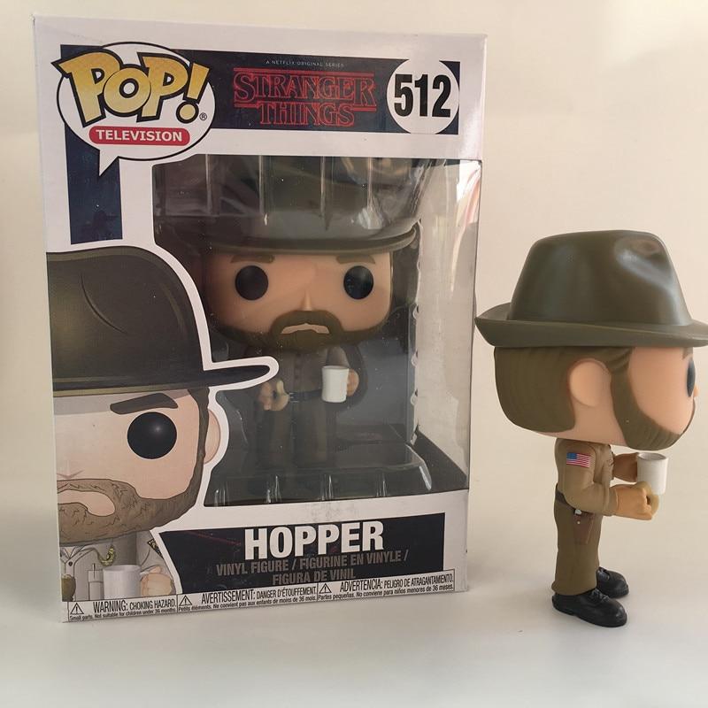 Funko POP Stranger things & HOPPER 512 PVC Action Figure Collection model toys birthday Gift 2