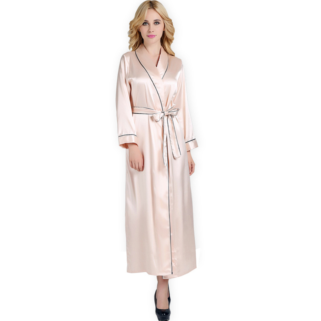 6cccbffcc9bd 2018 Spring New Sexy Women Satin Silk Robe Ankle-Length nightwear robes  female Long bathrobes robe Luxury Sleeprobes