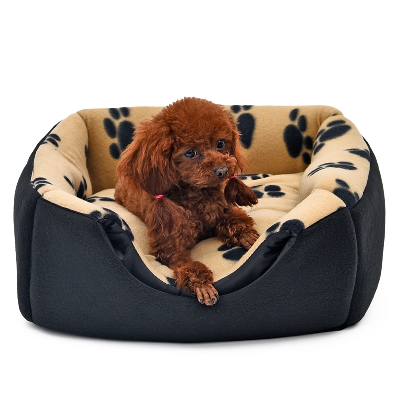 Pet House 2 Ways To Use Dog Bed Kennel Paw Pattern Printed Fall Winter Warm Puppy Cat Nest Pet Supplies 3 Colors S/M Pet Bed