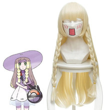 2018 New Japanese Game Pokemon Sun Moon Lillie Cosplay Wig 80 cm 31.5 Long Straight Anime Synthetic Hair Braided Gold