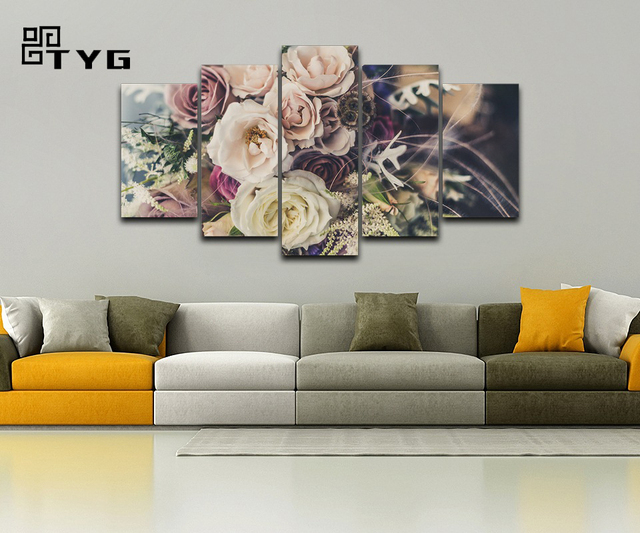 Canvas HD Prints Posters Wall Pictures 5 Pieces Rose Flowers Artistic Paintings Color Bouquets Decor Living Room Home Frameworks