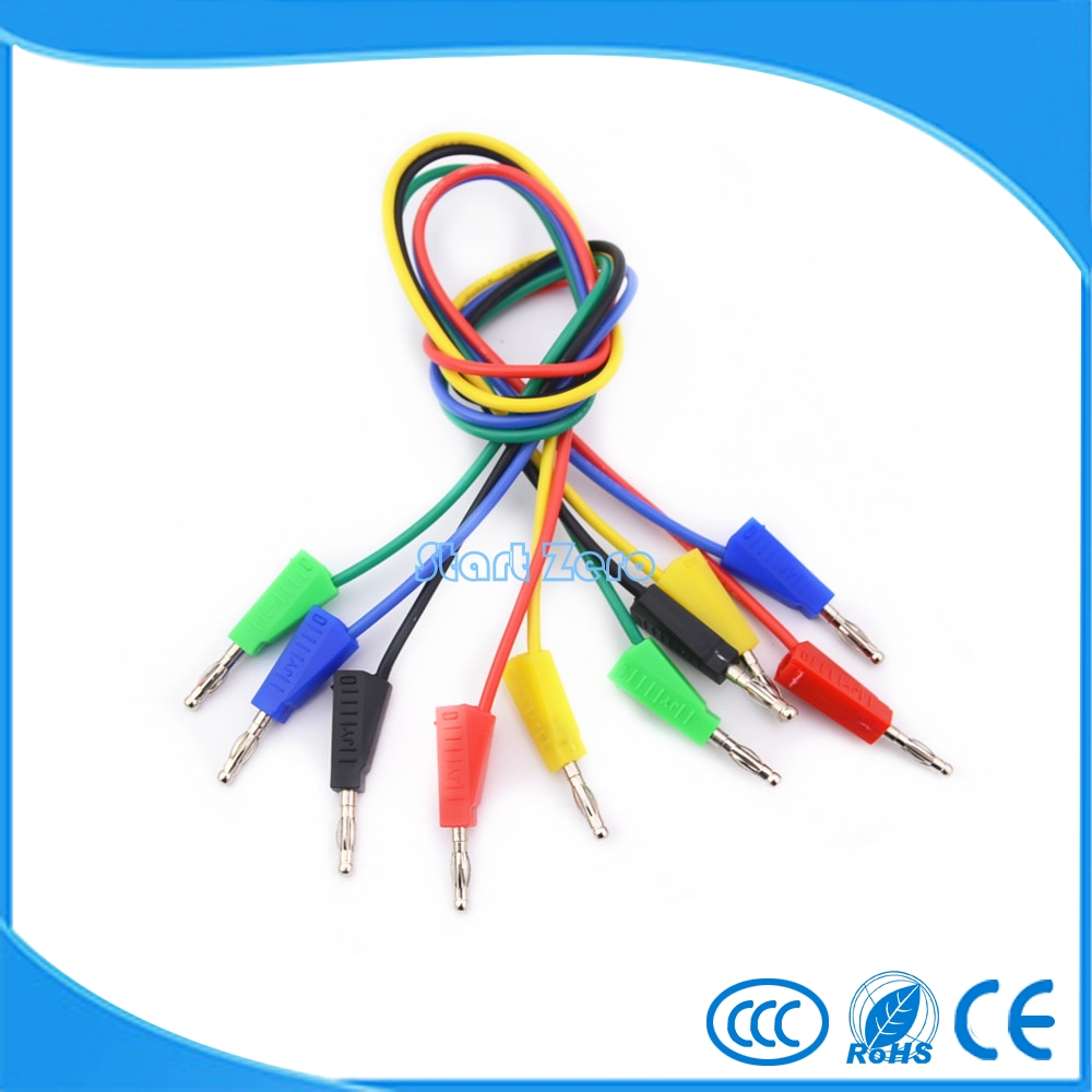 цена на 10pcs 4mm banana plug 16AWG test leads 50cm 75cm 1.5M 1M 2M stackable banana plug testing cable high voltage test leads 5Color