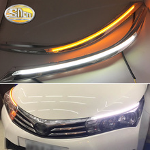 цена на For Toyota corolla 2014~2018 LED DRL Headlight Eyebrow Daytime Running Light fog lamp With Flowing dynamic Yellow Turn Signal