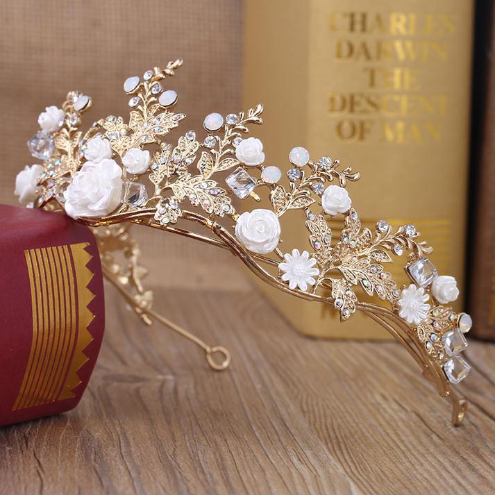 Baroque Handmade Gold Flower Leaf Tiara Crowns Wedding