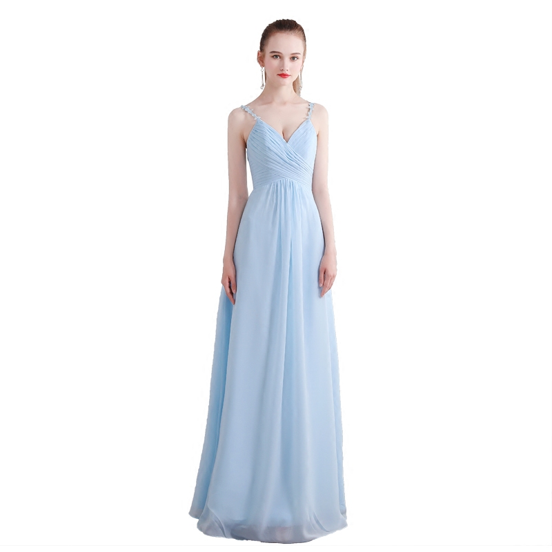Beauty-Emily Blue Chiffon A-Line   Bridesmaid     Dresses   2019 Lace Backless Off the Shoulder Homecoming Party Prom   Dresses