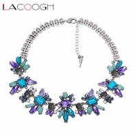 Lacoogh Luxury Shiny Purple Blue Crystal Flower Bib Statement Necklace Fashion Party Necklace Jewelry Women Accessories