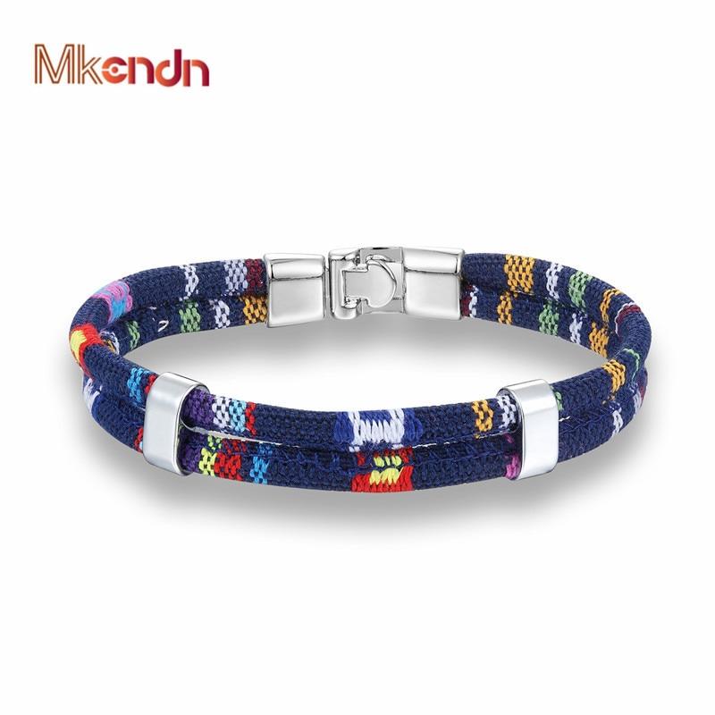 MKENDN New Fashion Bohemian Multilayer Braided Charm Leather Hand Chain Buckle friendship men women bracelet