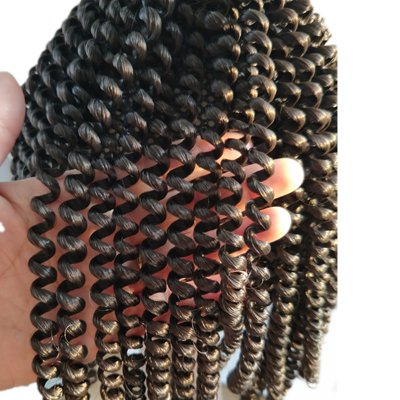 Pervado Hair Synthetic Spring Twist Crochet Braids Hair Extensions Black Brown Burgundy 8inch Ombre Braiding Hair for Women