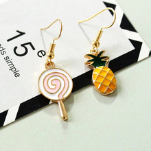 Trendy Cute Korea Stainless Steel Pineapple Long Drop Hanging Dangle Statement Women Earrings
