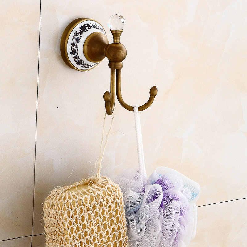 Antyczne szczotkowana miedź kryształ i porcelana podstawa łazienka Handware wanna półka na ręczniki wieszak na ręczniki uchwyt na papier mydelniczka hak BS8005