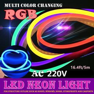 Светодиодная лента 220 В неоновые знаки led pc Rgb лента smd2835 полоски ruban etanche el лента неоновая лампа Гибкая лента 5 м сценические сказочные огни