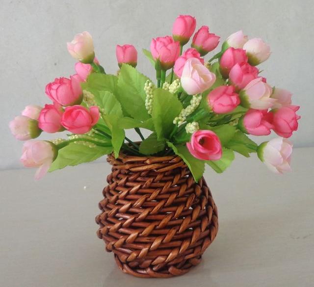 2017 Creative Cane Wicker Flower Basket Furnishing Articles Floret