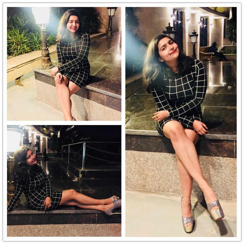 Sukienka w kratę Sheinside kobiety w okrągłym dekolcie z długim rękawem Slim Fit krótka sukienka 2018 jesień elegancka sukienka OL Bodycon Mini