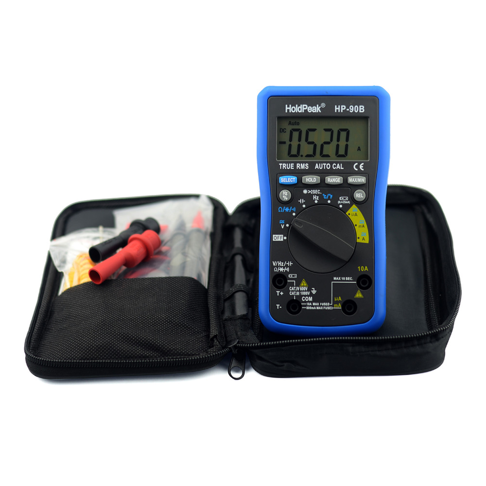 Multimerto DigitalHoldPeak HP-90B True RMS Digital Multimeter Auto Range Max/Min and Battery Tester with Temperature Unit Select