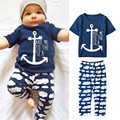 Navy baby boy clothing set T shirt + pants 2pcs English letter infant clothing