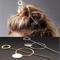 2016 Fashion Designer Gold Silver Hair Comb Metal Circle Hair Clasp Jewelry Hair Sticks for Women Accessories Varas de Cabelo