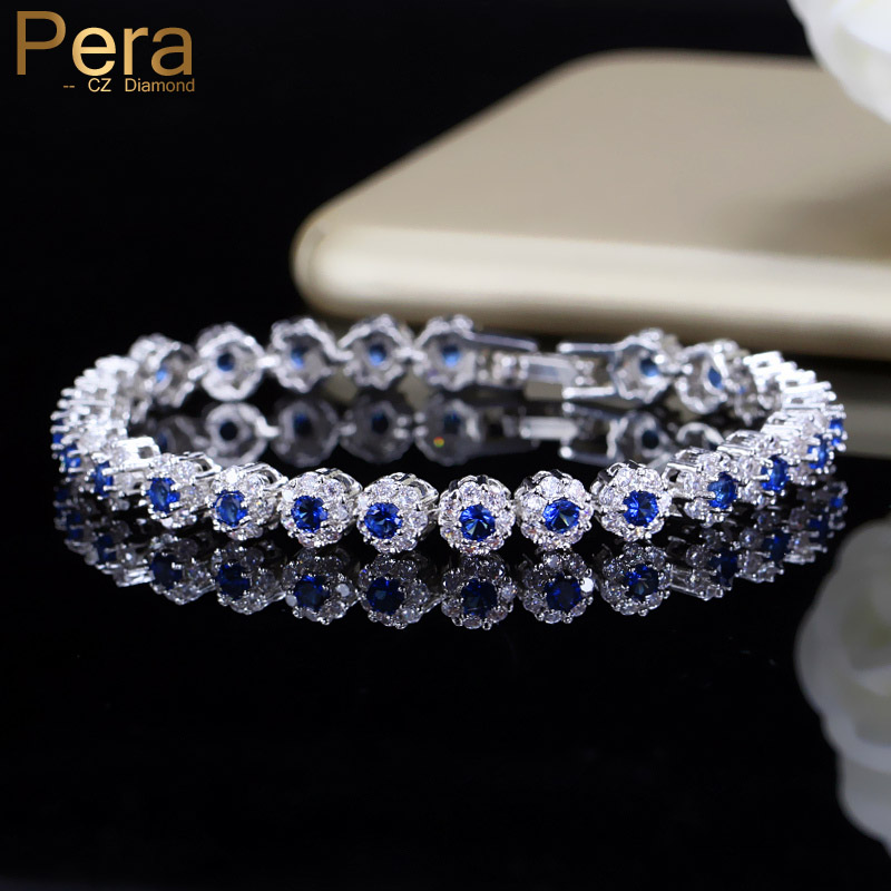 Pera New Fashion Royal Tennis Bracelet For Women Silver Color Big Cubic Zirconia Blue Stone Connected Party Charm Jewelry B117 starfield fashionable new bracelet inlaid cubic zirconia stone bracelet leaf design women s accessories