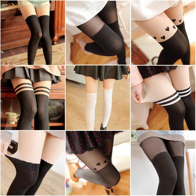 1 par de meias sexy feminino puro laço superior coxa alta meia-calça para feminino preto branco vermelho dropshipping