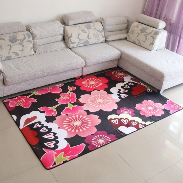 3D Red Flower Rug Living Room Sofa Modern Simple Floor Mats Bedroom ...