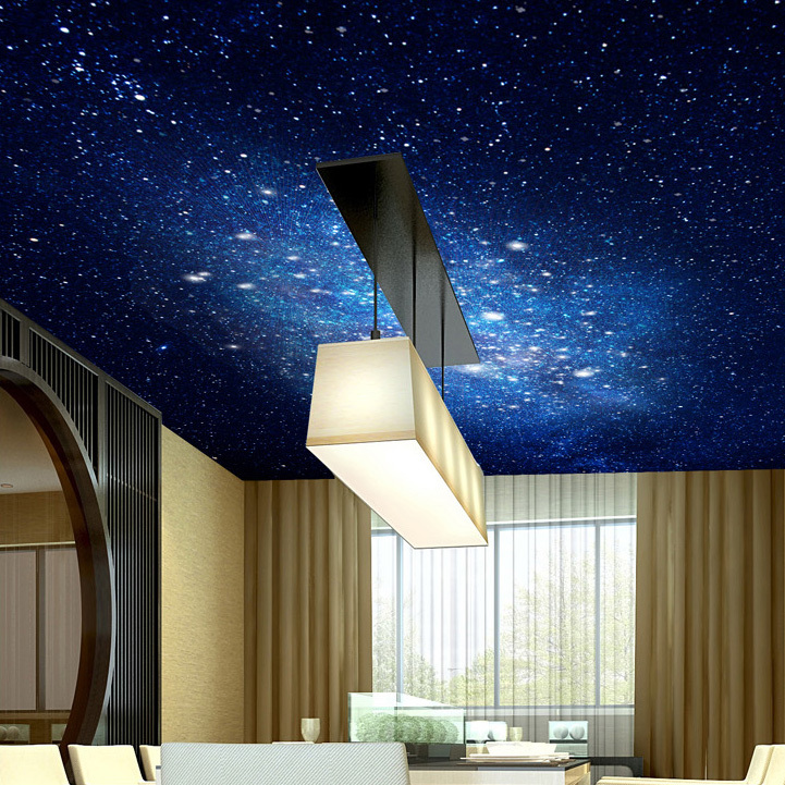 Free shipping 3d wallpaper star universe bedroom ceiling for Ceiling mural in a smoker s lounge