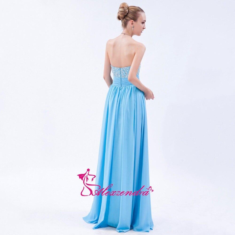 Alexzendra bleu ciel en mousseline de soie longue ligne robes de bal chérie perlée robe de soirée robes de grande taille - 5
