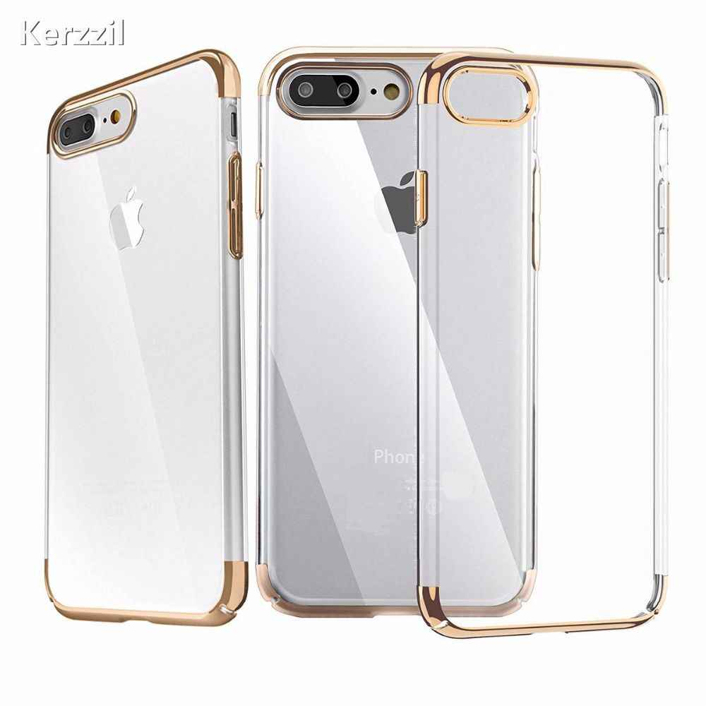 Kerzzil Metal Flash Transparent Crystal Clear TPU Cases For iPhone 7 6 6S Plus Soft Slim Cover For iPhone 6 7 6S Back Capa