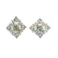 Unique Design Shiny Silver Crystals Metal Square Flower Charm Wedding Gift Ornament Button Accessory 6pcs Lot