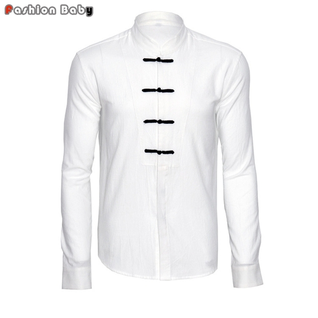 Vintage Men's Soft Cotton Linen White Cheongsam Casual Shirt Fashion Long Sleeve Chinese Style Loose Shirts Tang Clothing
