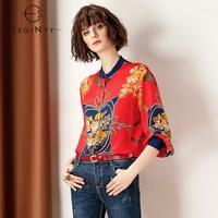 SEQINYY 100% Silk Shirt 2019 Spring Summer Woman's New Vintage Tassels Printed Flower Long Sleeve Elegant Luxurious Loose Blouse
