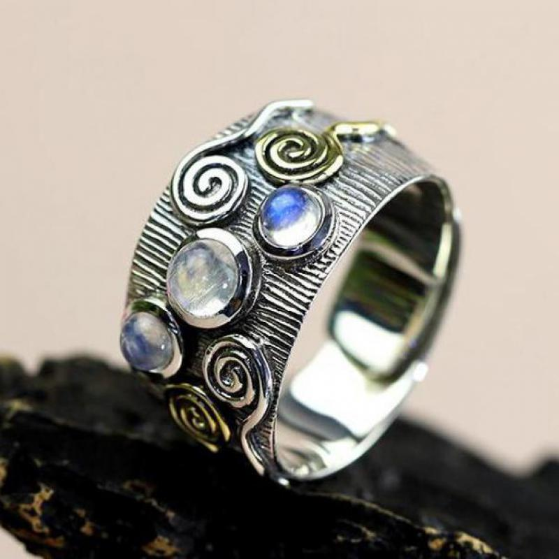 Natural Moonstone Rings For Women Real 925 Sterling Silver Jewelry Vintage Thai Silver Pure Handmade Moonlight Resizable Ring handmade stripe pattern exaggerated flower leaves rings wide real pure 999 sterling silver rings for women lady vintage jewelry