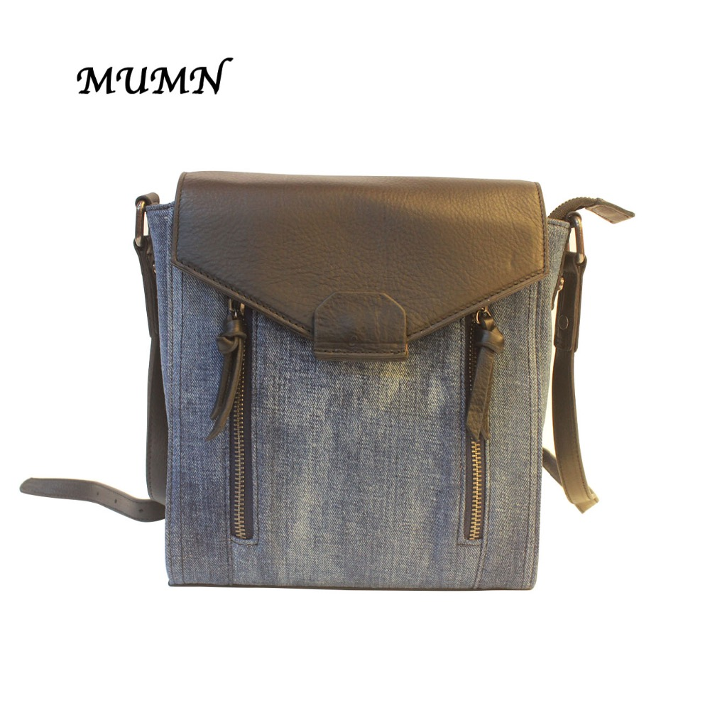 Small Denim Backpack with Black Leather  Fashion Style Unique design MUMN 3604