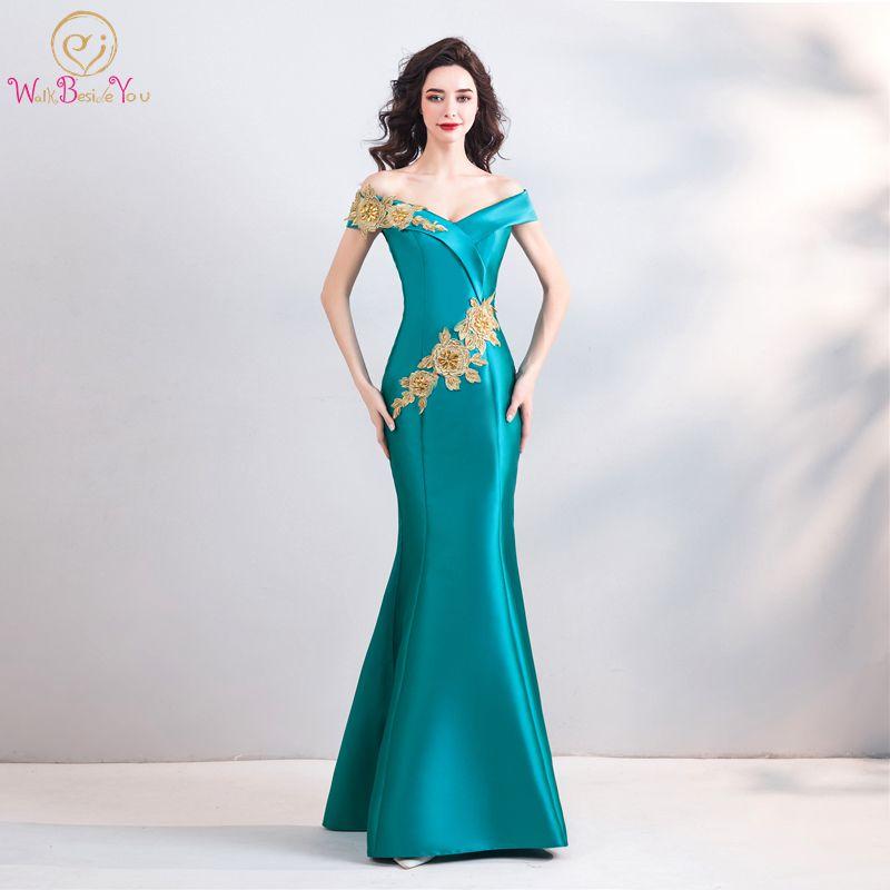 Ходить рядом с вами бирюзовые синие вечерние платья атласная юбка-годе Золотая Кружевная аппликация из бисера с открытыми плечами длинное ...