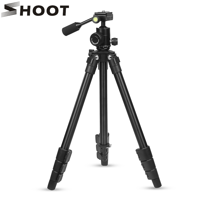 SHOOT Camera Tripod Stand Holder with Ball Head Mount for Canon 1300D Sony X3000 A6000 Nikon D3400 D5300 DSLR Camera Accessories