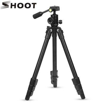SHOOT profesional 4 secciones trípode de cámara de aleación de aluminio para Canon Nikon DSLR videocámara Digital con cabeza de bola Accesorios