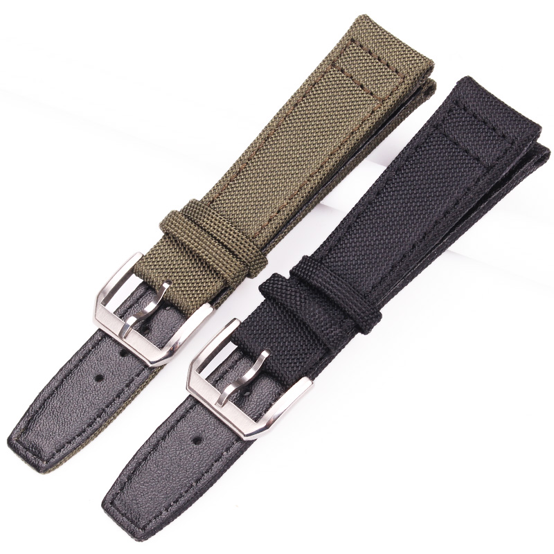 20mm 21mm 22mm Nylon Genuine Leather Watchbands Men Women Green Black High Quality Watch Band Strap With Silver Pin Buckle in Watchbands from Watches