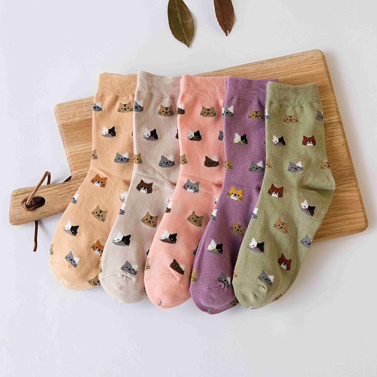 5 Colors  New Sock Animal Cartoon Cat Lovely for Women Cotton Socks