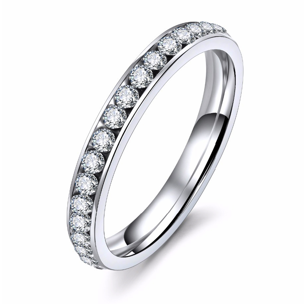 Silver Color Titanium Stainless Steel Crystal Wedding Rings for women CZ Surround Men Ring Fashion Jewelry Wholesale