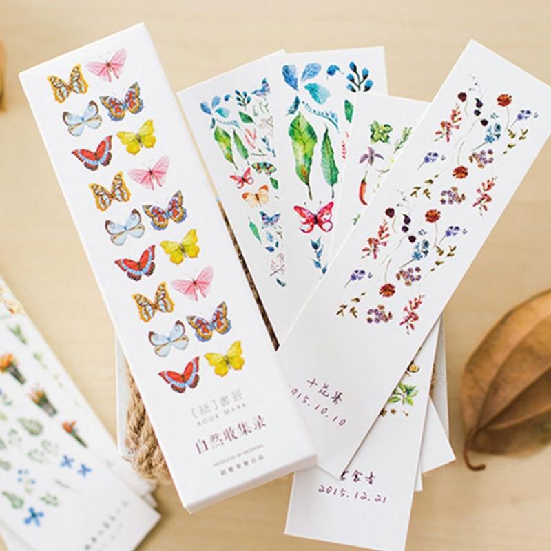 1 Pack dessin animé les Collections de la Nature plante papier signets animaux signet cadeau papeterie Film signet