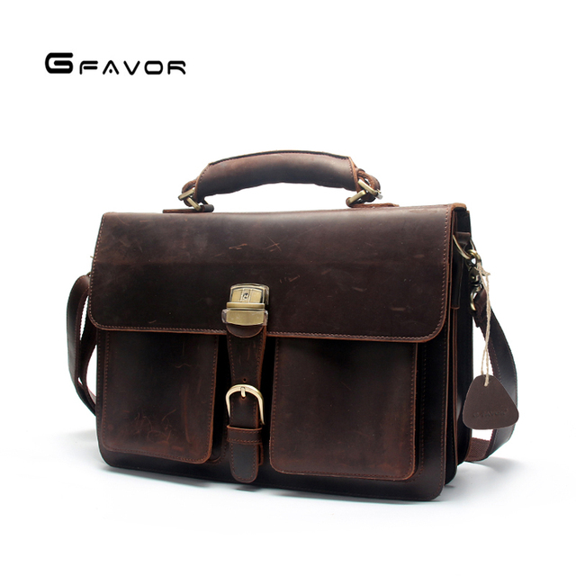 d0dae703e Men's Full Grain Leather Laptop Briefcase Messenger Bag Vintage Travel Case  Brown/Coffee Business Bag