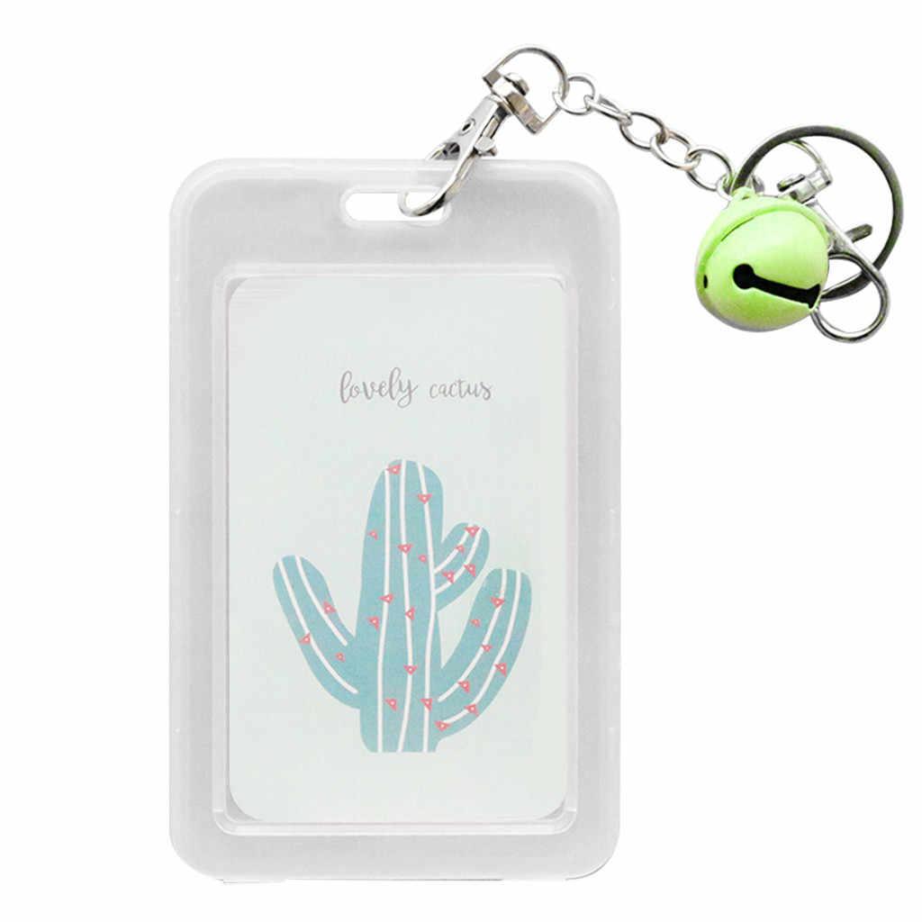 Llavero creativo chica Linda tarjeta de estudiante tarjeta de Banco Bus ID tarjeta Set transparente para mujeres niñas bolso colgante dijes clave d1