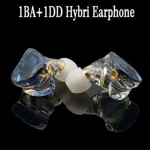 Image 1 - MMCX TD08 Hi Res Headphones HIFI Hybrid Earphone 1BA+1DD Earbuds Powerful Stereo Headset Custom Made DJ Monitor  Earphones