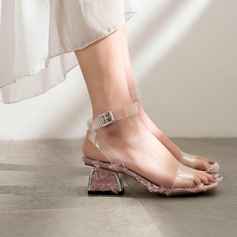 Salu qualité supérieure sandales en peau de mouton Boucle Rose offre spéciale Solide chaussures plates Talon Carré Concise Nouveau Sandales
